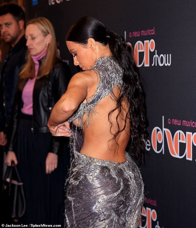 Kim Kardashian suffers an epic wardrobe malfunction as she flashes sideboob at the Broadway opening of The Cher Show (Photos)