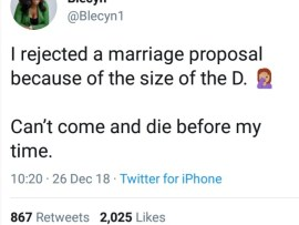 """""""I rejected a marriage proposal because of the size of the D"""" - Show host reveals (screenshots)"""