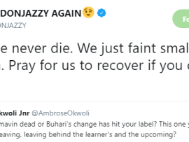 Between Don Jazzy and a Twitter user inquiring if his record label, Mavin, is dead