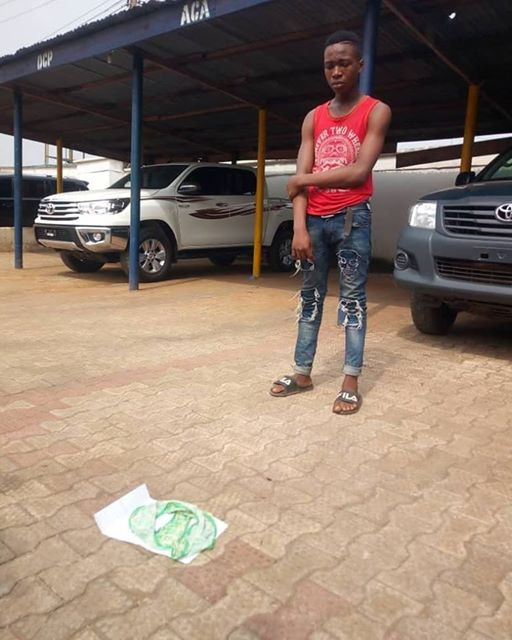 Photos: Police parade teenager arrested in Anambra for stealing female pant which he planned to sell at N80,000 for ritual purposes