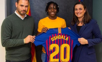 Super Falcons star,?Asisat Oshoala joins FC Barcelona (Photos)