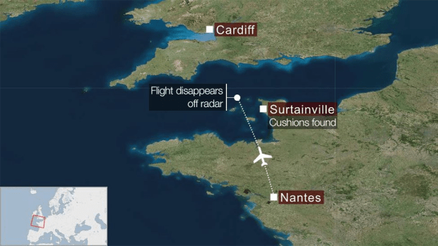Map showing where Sala's plane disappeared from radar en route to Cardiff from Nantes