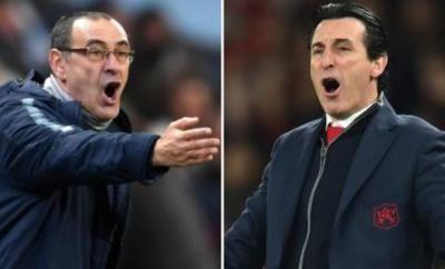 Chelsea manager Maurizio Sarri (left) and Arsenal counterpart Unai Emery