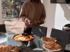 Offset wakes Cardi B to a large breakfast and flowers after eventful Grammys night (video)