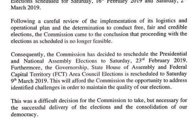 INEC postpones presidential election to February 23rd