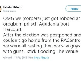 We were robbed at gun-point after INEC postponed the election last night - Female youth corp member cries out