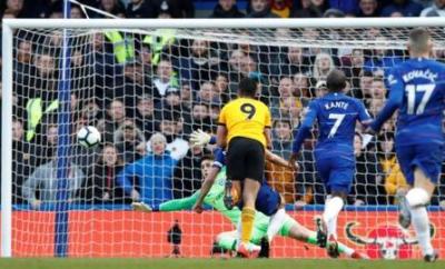 Raul Jimenez scores for Wolves against Chelsea at Stamford Bridge