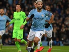 Manchester City striker Sergio Aguero celebrating