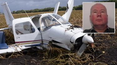 Robert Murgatroyd (inset) and the Piper PA28 after the crash