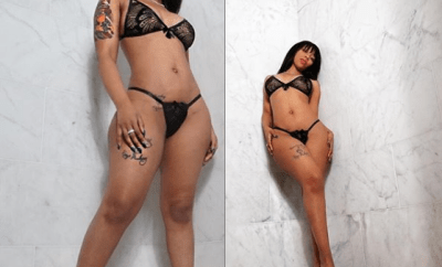 Singer, K.Michelle shows off smaller curves in sexy mesh lingerie after removing fake butt Implants (Photos)
