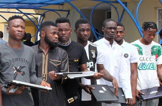 [PHOTO]: EFCC arrests 11 suspected internet fraudsters in Lagos, recovers seven exotic cars