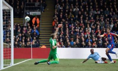 Raheem Sterling scores for Manchester City against Crystal Palace