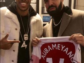 Pierre-Emerick Aubameyang links up with Drake at his concert, hands him an Arsenal shirt?