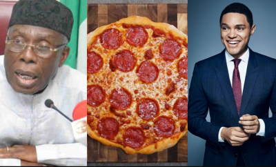 Mixed reactions follow as Trevor Noah trolls Minister of Agriculture, Audu Ogbeh over his pizza comment (Screenshots)
