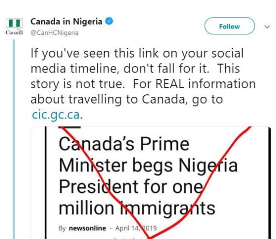 ?We didn?t beg President Buhari for one million immigrants? ? Canadian embassy tells Nigerians