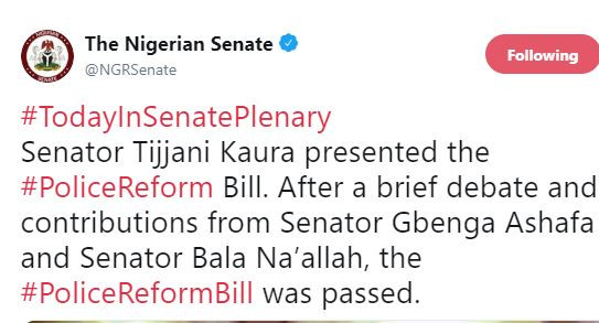 Nigerian Senate passes police reform bill