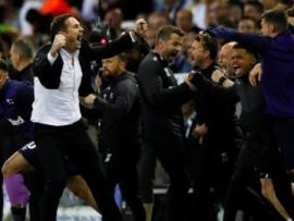 Derby players and coaches celebrate at full-time against Leeds
