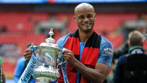 Vincent Kompany with the FA Cup