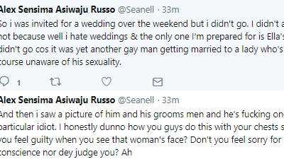 Twitter Stories: Nigerian man says he refused to go for a wedding because the groom is gay and is sleeping with one of his groomsmen