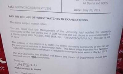 Photo: University Of Uyo bans use of wristwatches during exams