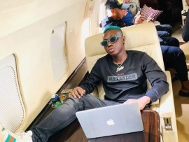 Days after his release from EFCC custody, Zlatan strikes a pose in a Private jet (Photo)