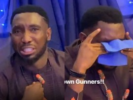 Video: Timi Dakolo breaks down in tears following Arsenal