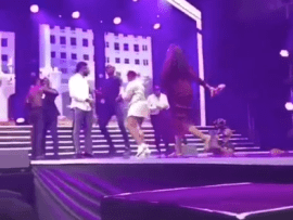 Hilarious: Wives of Basketmouth, IK Osakioduwa, JJC Skillz dragged them off stage after they climbed on it to join the sweet boys association at Falz