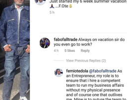 Between billionaire businessman, Femi Otedola and a follower on IG