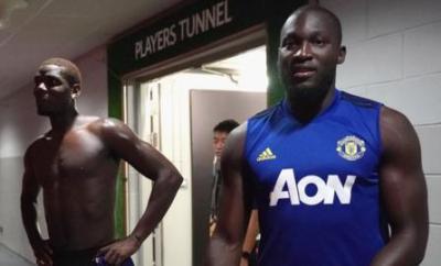 Romelu Lukaku with Paul Pogba, during pre-season training for Manchester United