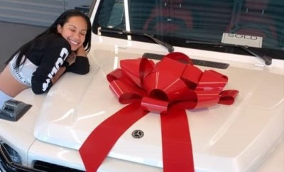 Erica Mena flaunts new G-Wagon gift from fiance Safaree Samuels as she accepts him back after his cheating scandal (Photos)