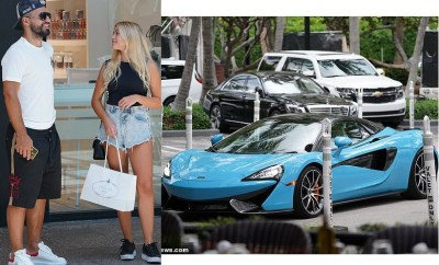 Manchester City striker, Sergio Aguero takes his girlfriend Sofia Calzetti shopping in a McLaren Spider ?(Photos)
