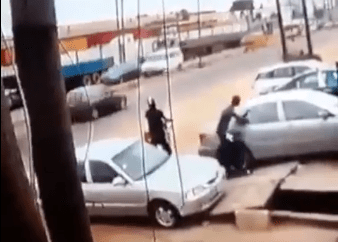 CCTV captures the moment robbers in Lagos broke the glass of a car using just salt and saliva