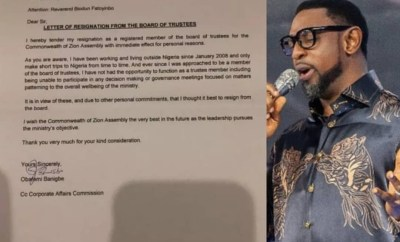 """Pastor Obafemi Banigbe resigns as a COZA board of trustees member??with immediate effect"""""""