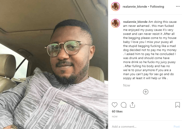 Nigerian porn star, Annie Blonde calls out man who had sex with her and refused to pay