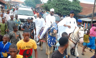 Lawmaker, Shina Peller celebrates Sallah by riding a horse from the praying ground to his family house (Photos)