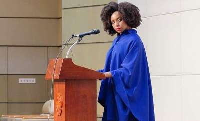 Chimamanda Adichie looked elegant in a blue two-piece as she delivered a lecture in South Korea