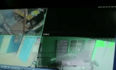 Lady shares CCTV footage of policemen robbing her in the night (video)