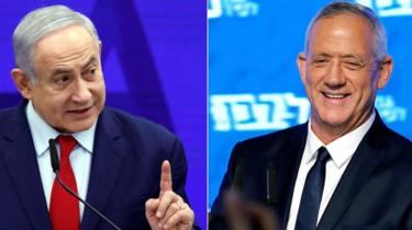 File photos showing Benjamin Netanyahu (L) and Benny Gantz (R)