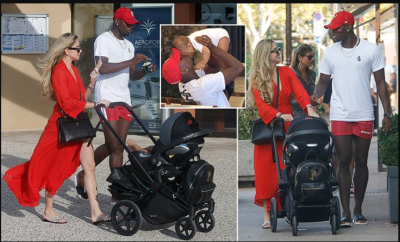 Man.U star Paul Pogba and girlfriend Maria Salaues take their son for a sunny stroll in Saint Tropez (Photos)