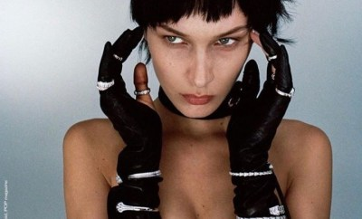 Bella Hadid poses topless during a steamy photoshoot