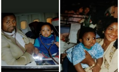 Davido shares adorable throwback photos of himself with his parents