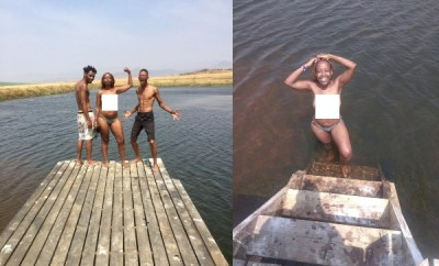 TV host Ntsiki Mazwai goes naked while swimming with male friends (18+ photos)