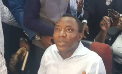First photos of Omoyele Sowore in court today during his arraignment for?treason and terrorism by DSS
