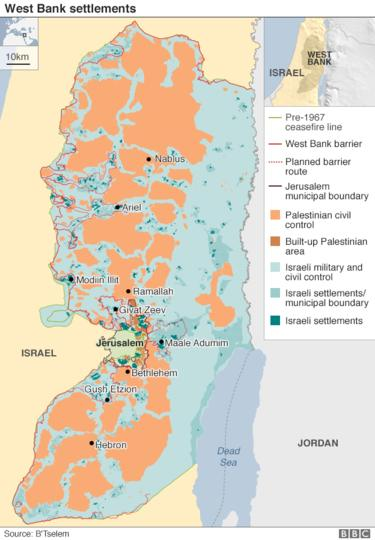 West Bank settlements map