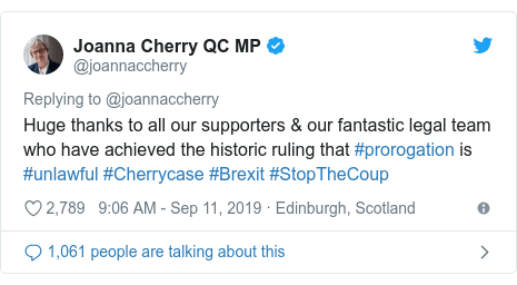 Twitter post by @joannaccherry: Huge thanks to all our supporters & our fantastic legal team who have achieved the historic ruling that #prorogation is #unlawful #Cherrycase #Brexit #StopTheCoup