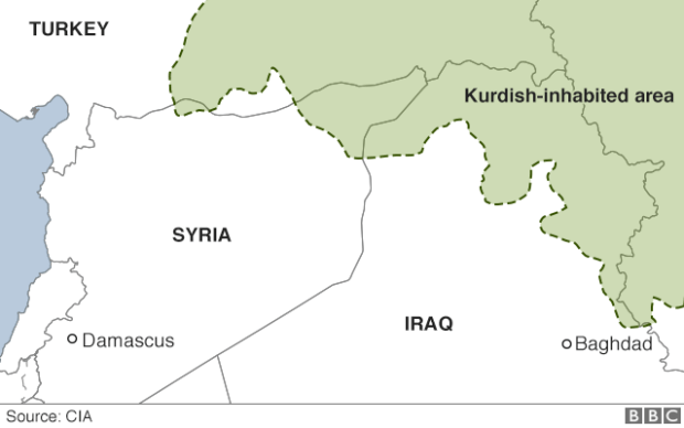 Map showing Kurdish inhabited areas in Syria, Iraq, Turkey and Iran