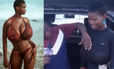 Big boobs model, Pamela Odame allows interviewer to touch her boobs, says she can last for 10 rounds and 2 hours during sex (video)