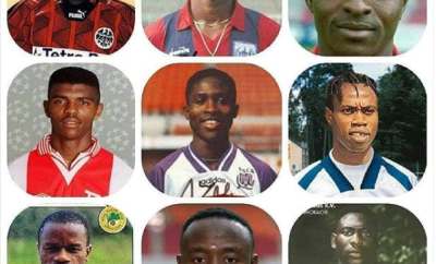 Check out this throwback photo of Nigerian football legends, Okocha, Kanu, Oliseh, ?Amokachi ?and others?