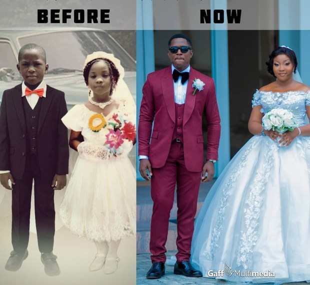 Couple get married years after they served as little bride and page boy at a wedding (photo)