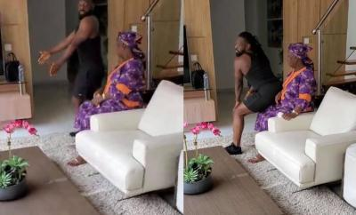Timaya hilariously twerks for his mother (video)